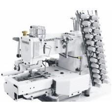 Промышленная швейная 12-ти игольная машина KANSAI FX-4412P/UTC с цилиндрической платформой